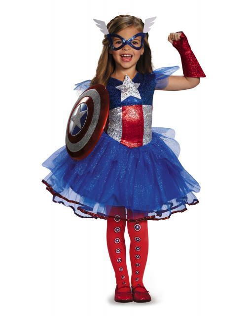 Fantasia Capitão América Infantil para meninas com brilho