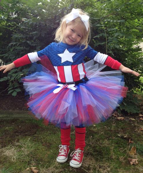 Fantasia Capitão América Infantil feminina