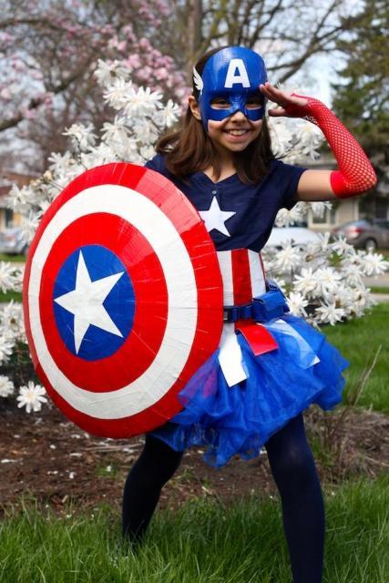 Fantasia Capitão América Infantil com máscara para meninas