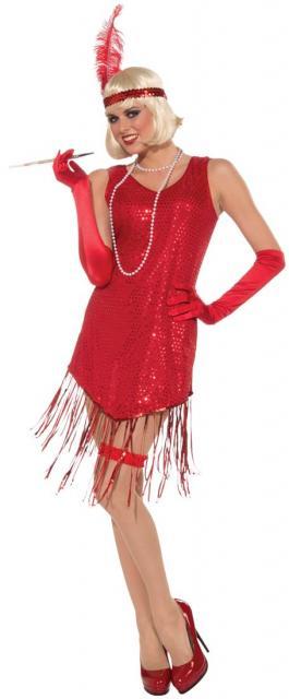 Fantasia melindrosa vermelha com tiara de pena vermelha