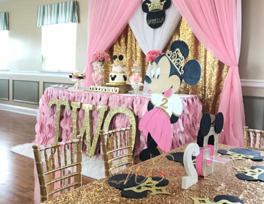Festa da Minnie rosa com dourado