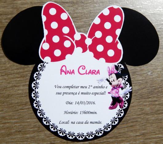 Festa da Minnie rosa convite