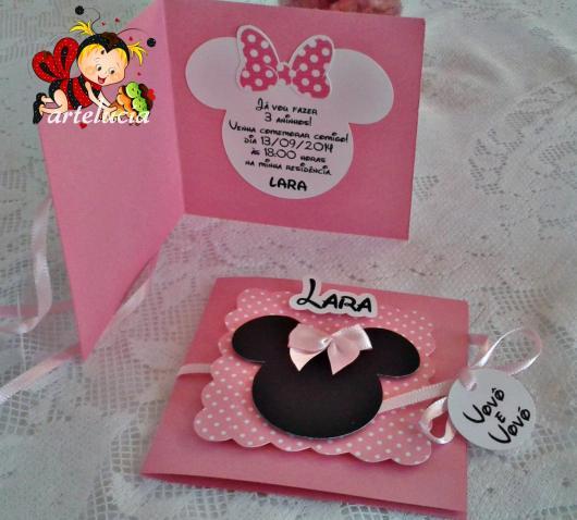 Festa da Minnie rosa modelo de convite