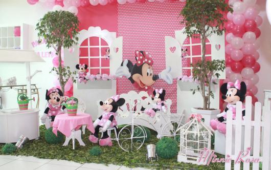decoração Festa da Minnie rosa provençal