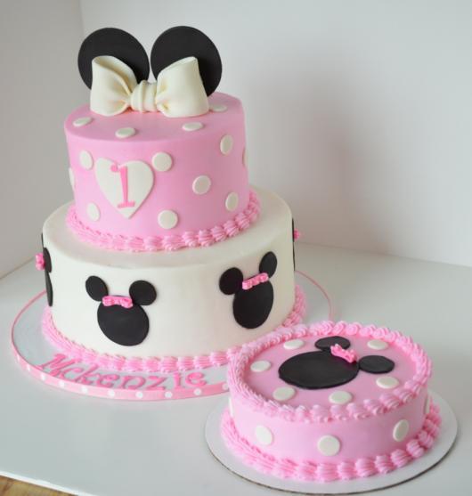 dica de bolo Festa da Minnie rosa