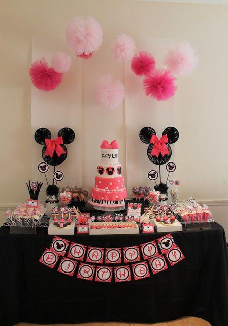 Festa da Minnie rosa com preto simples
