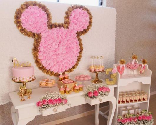 Festa da Minnie rosa e dourado