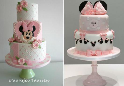 opções de bolo Festa da Minnie rosa