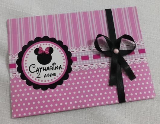 Festa da Minnie rosa convite com laço