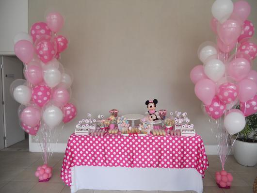 Festa da Minnie rosa toalha de poás