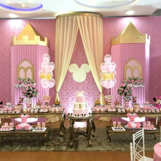 Festa da Minnie rosa decor dourado