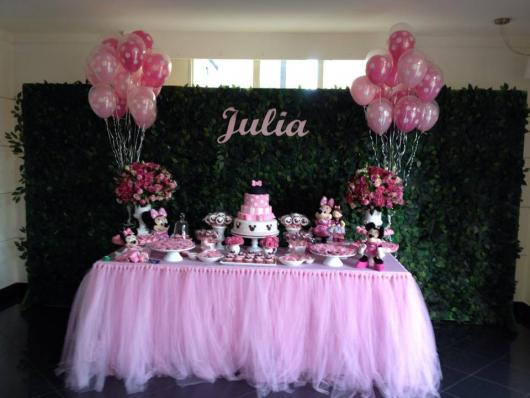 Festa da Minnie rosa simples com balões