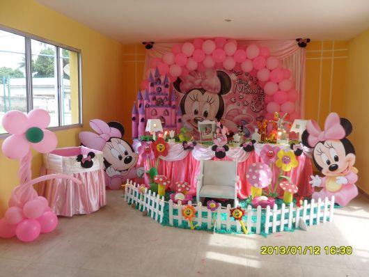 Festa da Minnie rosa decoração baby