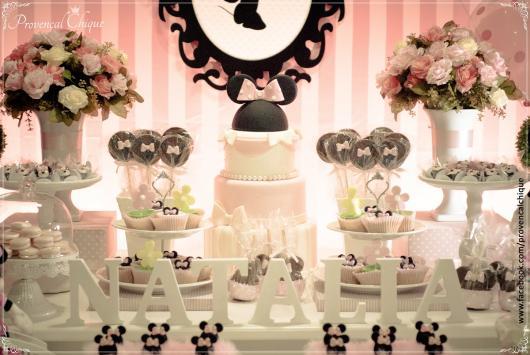 Festa da Minnie rosa com estilo provençal