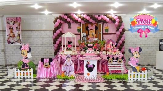 decoração Festa da Minnie rosa de 1 ano