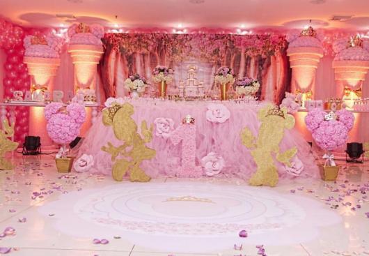 Festa da Minnie rosa linda com dourado