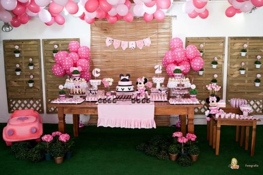 Festa da Minnie rosa decoração de 1 ano