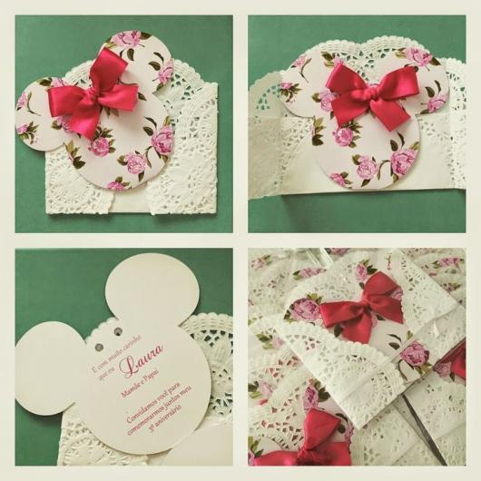 Festa da Minnie rosa convite delicado