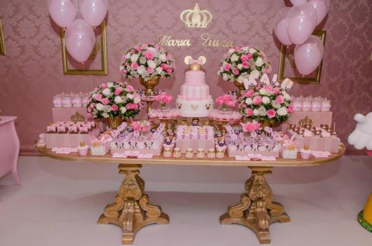 Festa da Minnie rosa detalhes dourados