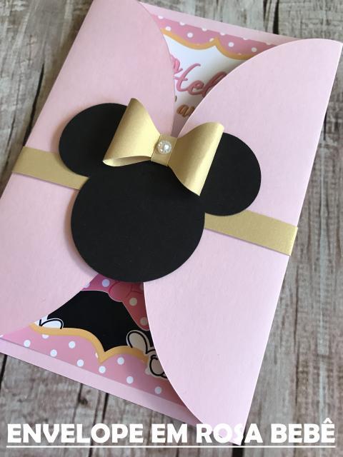 Festa da Minnie rosa convite dourado