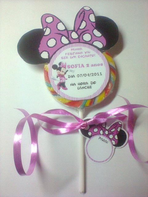 Festa da Minnie rosa convite pirulito