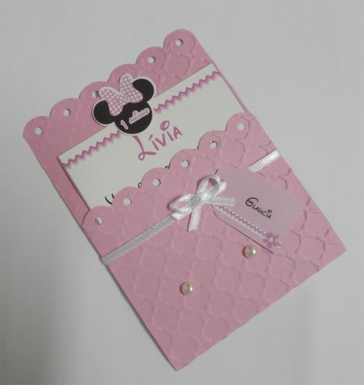 Festa da Minnie rosa sugestão de convite