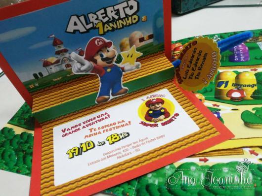 Convite com imagens do Mario Bros.