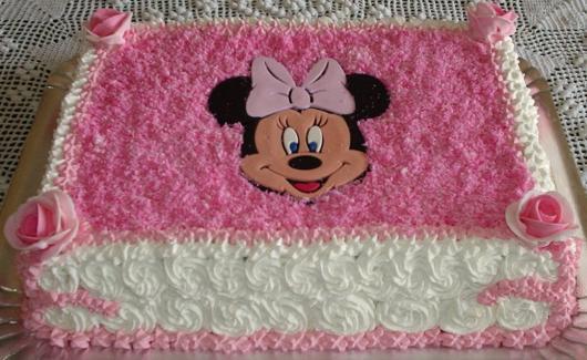 Festa da Minnie rosa bolo caseiro simples