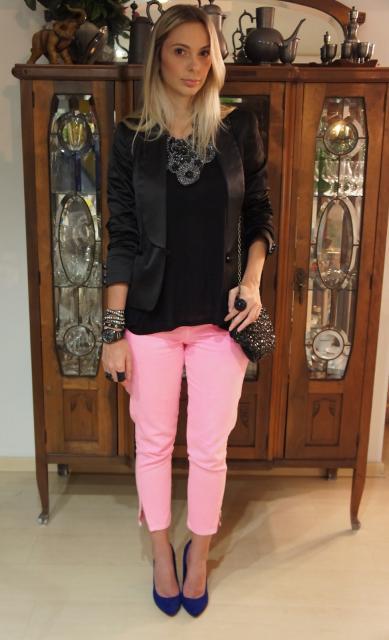 Roupa para festa neon calça rosa