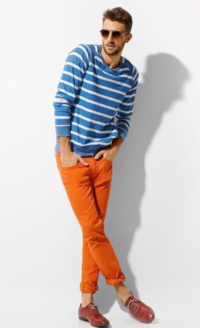 Roupa para festa neon calça masculina laranja