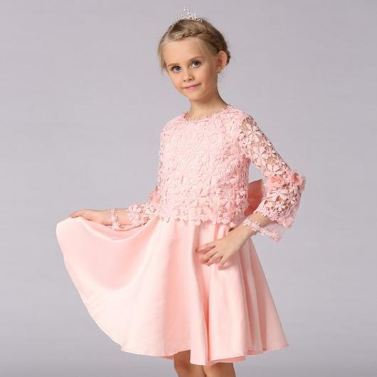 vestido rosa manga longa