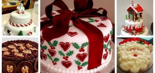 Montagem com cinco tipos diferentes de bolos de Natal.