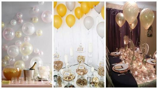 Montagem com fotos de decorações com balões.