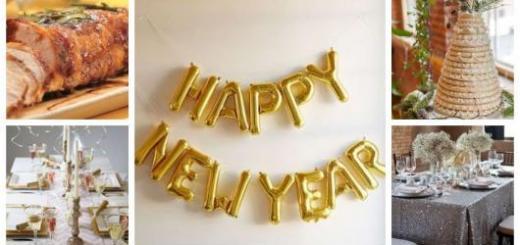 Montagem com fotos de receitas e decorações para ceia de ano novo.