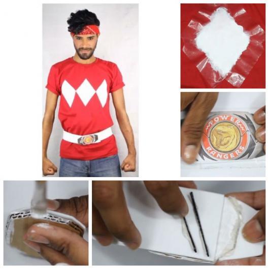 Montagem ensinando a fazer camiseta e cinto dos Power Rangers.