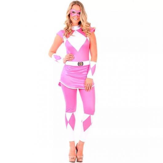 Fantasia adulto de Power Rangers Rosa.