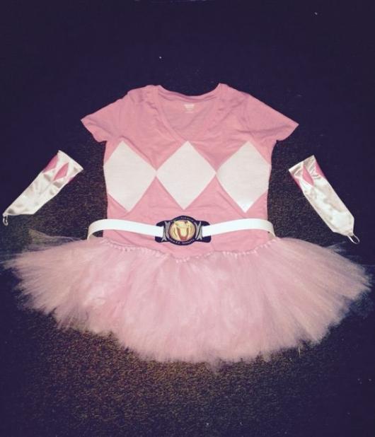Fantasia rosa com saia tutu.