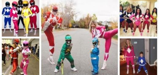 Montagem com fotos de grupos fantasiados de Power Rangers.