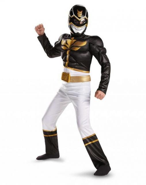 Fantasia Power Rangers Preta, branca e dourada.