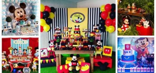 Montagem com cinco tipos diferentes de festa do Mickey