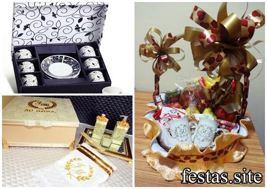 Presentes para Bodas de Ouro: Xícaras, canecas personalizadas e kit higiene.