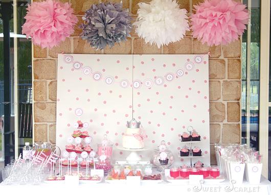 Bodas de Papel decoração enfeites de papel rosa roxo e branco