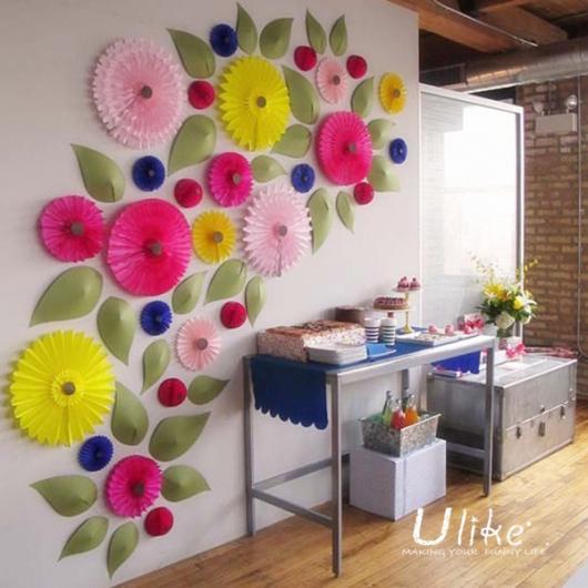 Bodas de Papel flores de papel na parede