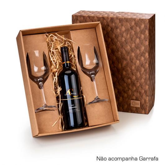 Bodas de Papel presente caixa de vinho com taças