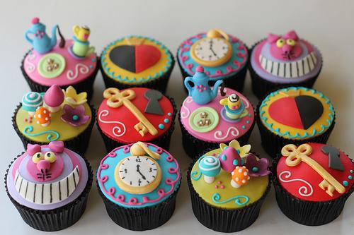 Alice no País das Maravilhas cupcake dos objetos do filme