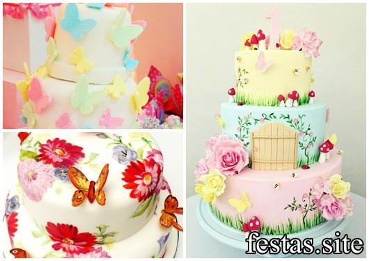 Bolo Jardim Encantado modelos de borboleta
