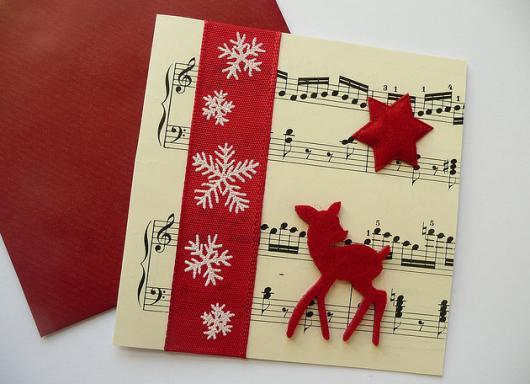 decoração cartão musical