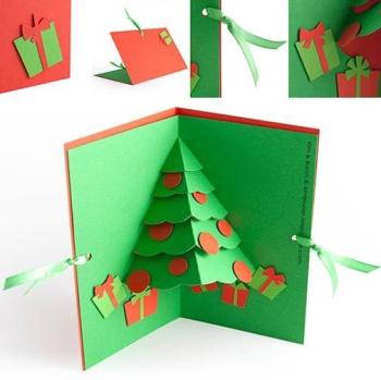 cartão natalino verde e vermelho