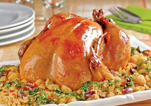 Ceia de Natal simples frango assado