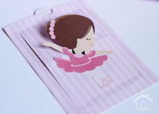 Convites bailarina cute para chá de bebê